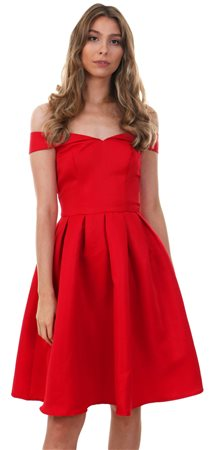 Chichi Red Jade Bardot Frill Dress  - Click to view a larger image