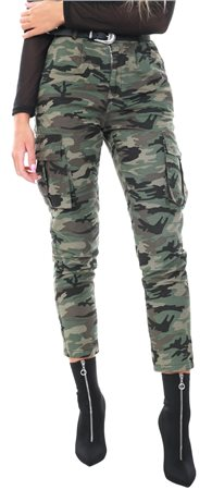 Daisy St Khaki Camo Combat Fitted Trousers  - Click to view a larger image