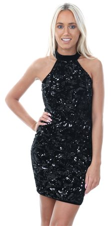 Ax Paris Black Sequin Velvet High Neck Dress  - Click to view a larger image
