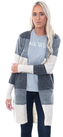 Only Dark Grey Melange Meredith Long Knitted Cardigan  - Click to view a larger image
