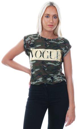 Parisian Khaki Camo Printed Vogue T-Shirt  - Click to view a larger image