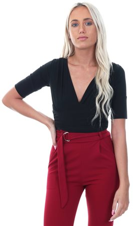 Parisian Black V Neck Fitted Crop 3/4 Sleeve Top  - Click to view a larger image