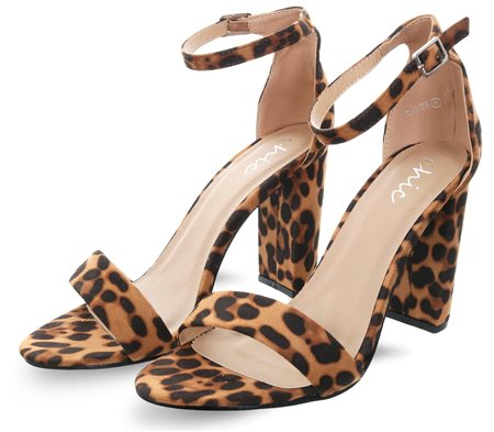 No Doubt Brown Leopard Print Block Heeled Shoe  - Click to view a larger image