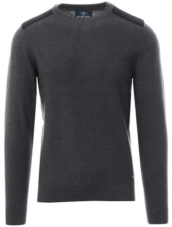 Holmes & Co Charcoal Round Neck Knitted Sweater  - Click to view a larger image