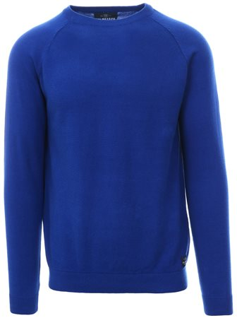 Holmes & Co Blue Round Neck Knitted Sweater  - Click to view a larger image
