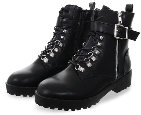 No Doubt Black Lace Up Buckle Military Boot  - Click to view a larger image