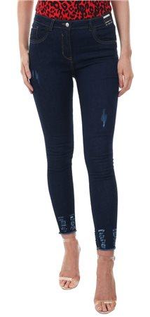 Parisian Dark Indigo Distressed Skinny Jean  - Click to view a larger image
