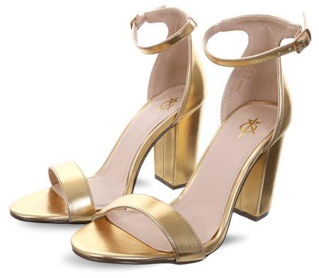 0c5e127d814 Gold Foil Sarah Basic Single Strap Block Heel Sandal - 3
