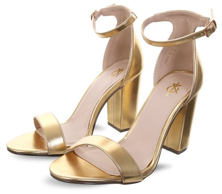 4th & Reckless Gold Foil Sarah Basic Single Strap Block Heel Sandal  - Click to view a larger image