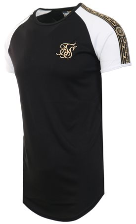 Siksilk Black/White Curved Hem Performance Tee  - Click to view a larger image