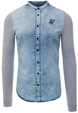 Siksilk Grey Marl Denim L/Sleeve Oxford Shirt  - Click to view a larger image