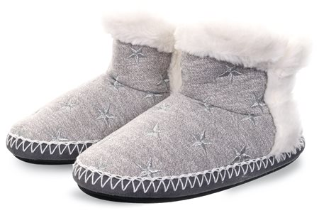 Superdry Grey Marl / Silver Slipper Boot  - Click to view a larger image