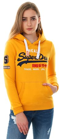 Superdry Golden Ochre Vintage Logo Bonded Satin Hoodie  - Click to view a larger image