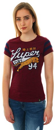 Superdry Maroon Rugged Big Cat Entry S/Sleeve T-Shirt  - Click to view a larger image