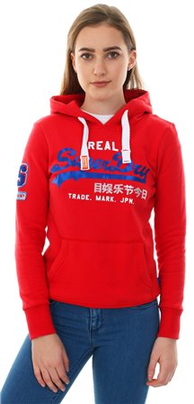 Superdry Dark Red Vintage Logo Bonded Satin Hoodie  - Click to view a larger image