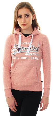 Superdry Dusty Rose Shirt Shop Sequin Pullover Hoodie  - Click to view a larger image