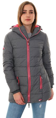 Superdry Night Grey Marl / Fluro Flamingo Tall Sports Puffer Jacket  - Click to view a larger image