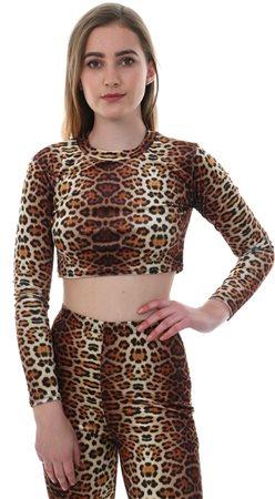 835370874b5 Parisian Brown Leopard Print Long Sleeve Crop Top - Click to view a larger  image