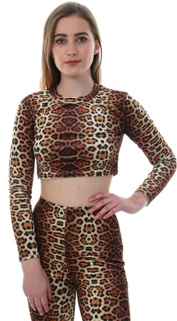 Parisian Brown Leopard Print Long Sleeve Crop Top  - Click to view a larger image