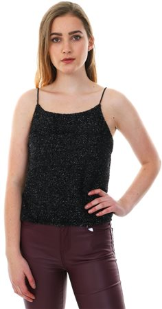 Parisian Black Embellished Fitted Cami Top  - Click to view a larger image