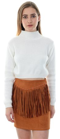 Style London Tan Faux Suede Mini Tassel Skirt  - Click to view a larger image