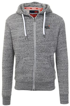Superdry Flint Grey Grit Orange Label Zip Hoodie  - Click to view a larger image
