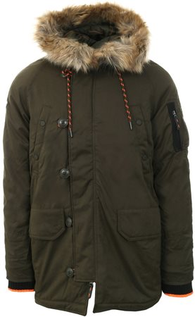 Superdry Khaki Sdx Parka Fur Hood Jacket  - Click to view a larger image