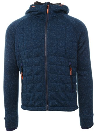 Superdry Indigo Navy Marl Storm Quilted Zip Up Hoodie  - Click to view a larger image