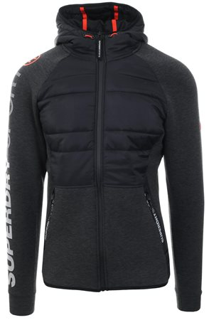 Superdry Black Gym Tech Hybrid Hoodie  - Click to view a larger image