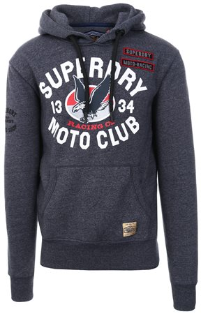 Superdry Horizon Blue Custom 1334 Pull Over Hoodie  - Click to view a larger image