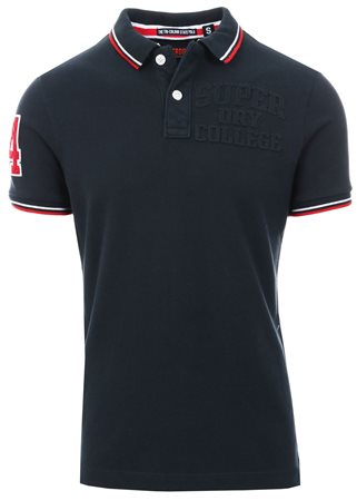 Superdry Eclispe Navy Classic Super Tri Polo Shirt  - Click to view a larger image