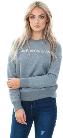 Calvin Klein Mid Grey Heather Logo Sweatshirt  - Click to view a larger image