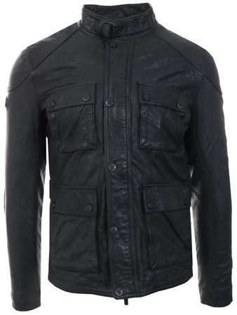Superdry Black Rotor Leather 4 Pocket Jacket  - Click to view a larger image