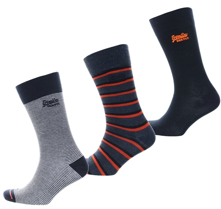 Superdry Indigo Stripe/Eclipse Sock Triple Pack  - Click to view a larger image