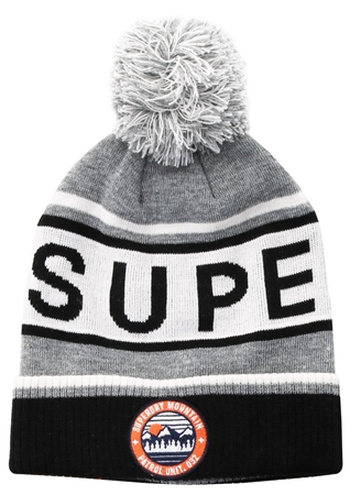 Superdry Light Grey Marl / Off White / Black Oslo Racer Beanie  - Click to view a larger image