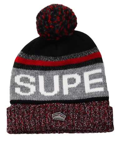 Superdry Navy/Red Mix Super Sd Logo Beanie  - Click to view a larger image