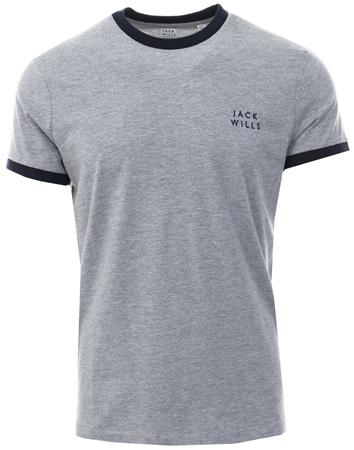 Jack Wills Grey Sailsbury Ringer Short Sleeve T-Shirt  - Click to view a larger image