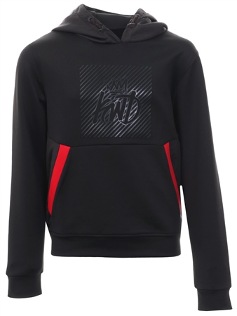 Kings Will Dream Black/Red Junior Arely Box Print Hooded Top  - Click to view a larger image