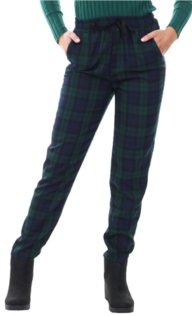 Missi Lond Green Checked Print Tie Waist Trousers  - Click to view a larger image