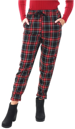 Missi Lond Red Tartan Print Tie Waist Trousers  - Click to view a larger image