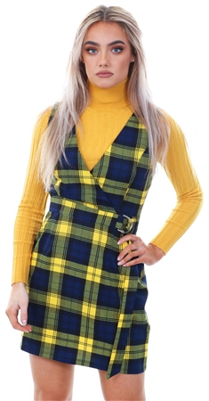 Miss Truth Navy/Yellow Checked Pinafore Buckle Belt Dress  - Click to view a larger image