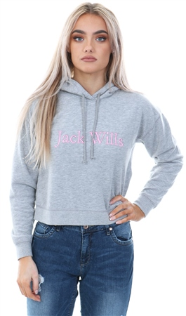 Jack Wills Grey Marl Pedderson Embroidered Logo Hoodie  - Click to view a larger image
