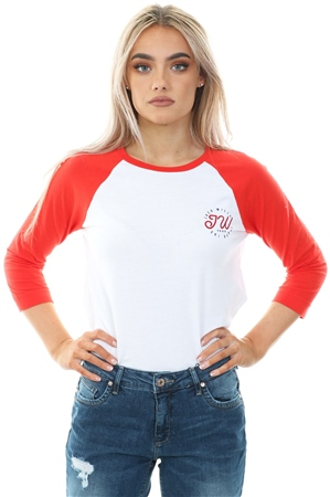 Jack Wills Red Henstridge Raglan 3/4 Length Sleeve T-Shirt  - Click to view a larger image