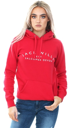 Jack Wills Red Culcross Popover Long Sleeve Hoodie  - Click to view a larger image