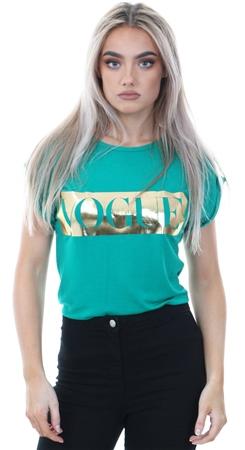 Parisian Green Vogue Logo Printed Short Sleeve T-Shirt  - Click to view a larger image