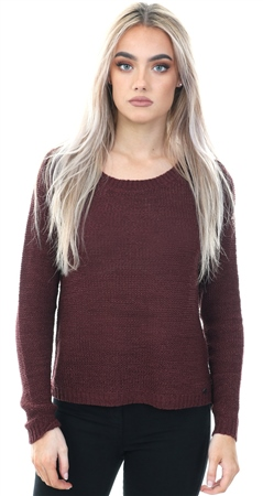 Only Burgandy Genna Port Royale Knitted Top  - Click to view a larger image