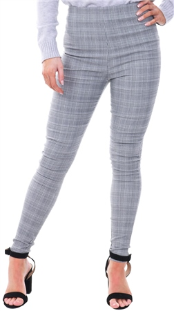 Parisian Grey Checked Print High Rise Skinny Trousers  - Click to view a larger image