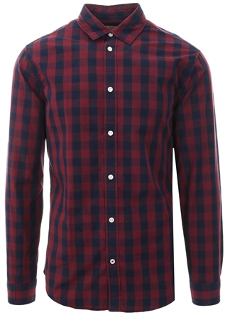 Jack & Jones Brick Red Check Gingham L/Sleeve Shirt  - Click to view a larger image