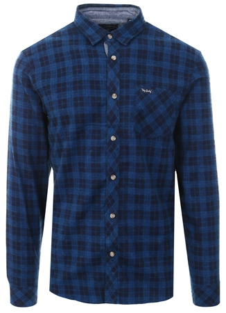 Tokyo Laundry Blue Hadleigh Check Long Sleeve Shirt  - Click to view a larger image