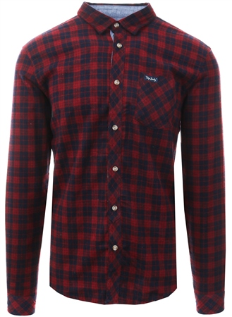 Tokyo Laundry Red Hadleigh Check Long Sleeve Shirt  - Click to view a larger image